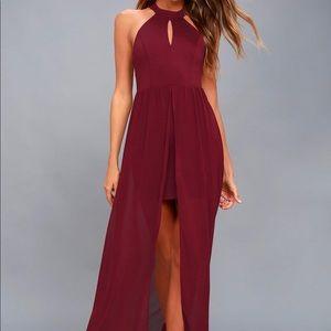 My Beloved Burgundy Lace Maxi Dress